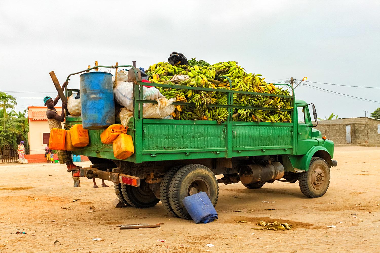アンゴラの農園から運び出されるバナナ