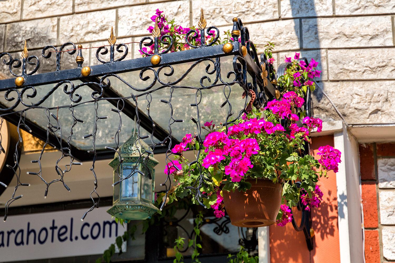 フランス、パリの街を彩る花飾り