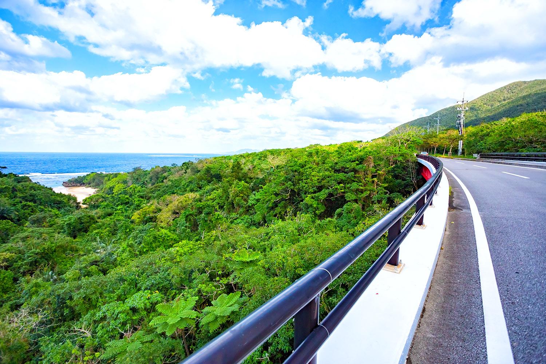 南国気分が満喫できる石垣島海辺の道路