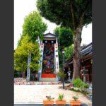『お櫛田さん』こと櫛田神社に奉納されている山笠。観光客向けに公開されています。